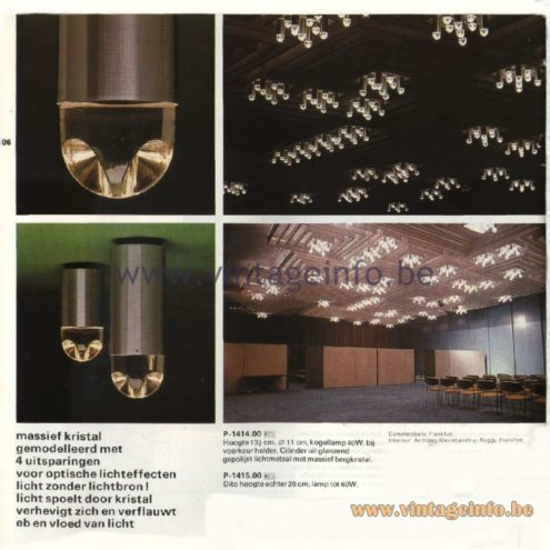 Raak Catalogue 11, 1978 – Raak Ceiling Lamp, P-1414.00, P-1415.00