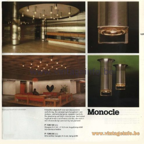Raak Catalogue 11, 1978 – Raak Ceiling Lamp Monocle, P-1267.00, P-1268.00