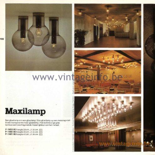 Raak Catalogue 11, 1978 – Raak Ceiling Lamp Maxilamp, P-1459.00, P-1460.00, P-1461.00