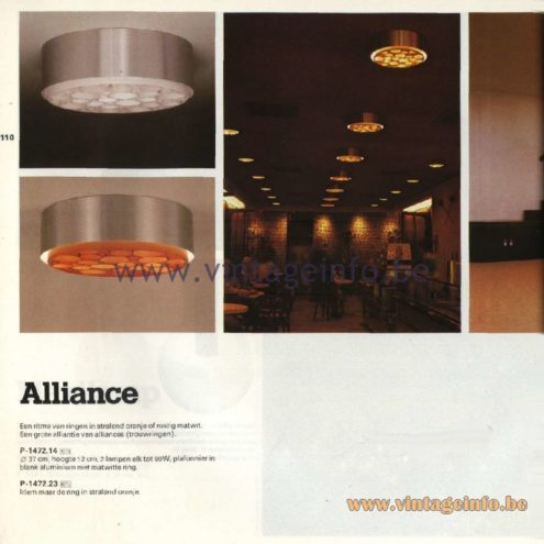 Raak Catalogue 11, 1978 – Raak Ceiling Lamp Alliance, P-1472.14, P-1472.23