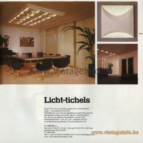 Raak Catalogue 11, 1978 – Raak Ceiling Lamp Licht-tichels (light-tiles) P-1400.00, F-3064.000