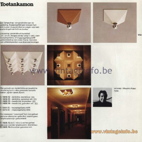 Raak Catalogue 11, 1978 – Raak Ceiling Lamp Toetancamon C-1610.12, C-1610.14, C-1620.12, C-1620.14, C-1625.12, C-1625..14