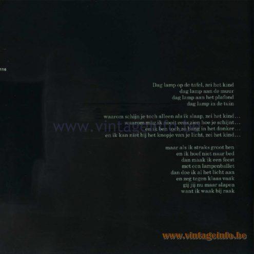 Raak Catalogue 11, 1978 – Raak Ceiling Lamps - poem in Dutch