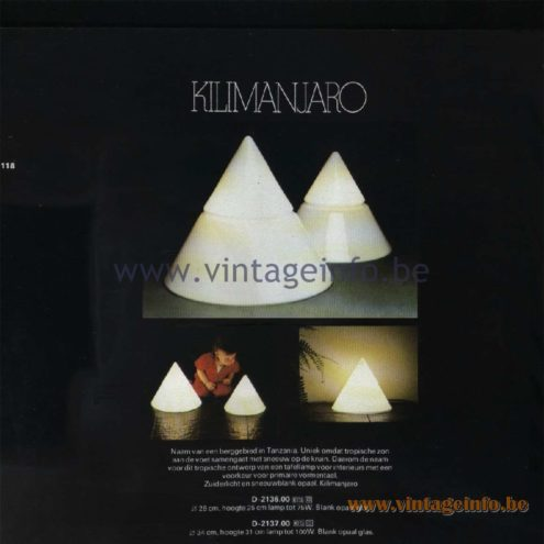 Raak Catalogue 11, 1978 – Raak Table Lamp Kilimanjaro D-2136.00, D-2137.00