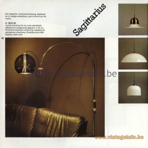 Raak Catalogue 11, 1978 - Raak Sachittarius Wall Lamp C-11514.20