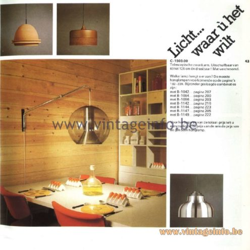 Raak Catalogue 11, 1978 - Raak C-1503.00 swivel arm