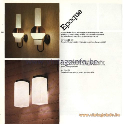 Raak Catalogue 11, 1978 - Raak Epoque Wall Lamp C-1666.00 and the C-535.00 Wall Lamp