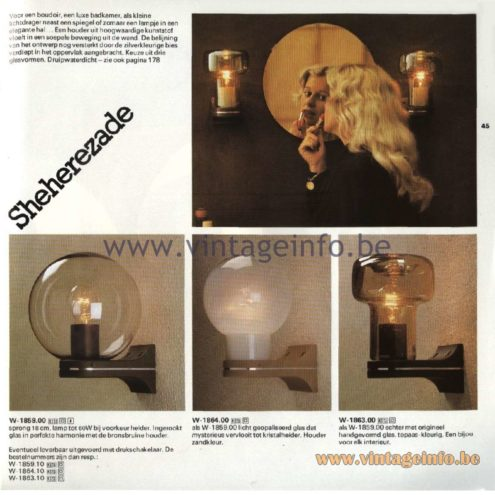 Raak Catalogue 11, 1978 - Raak Sheherezade Wall Lamps W-1859.00, W-1864.00, W-1863.00