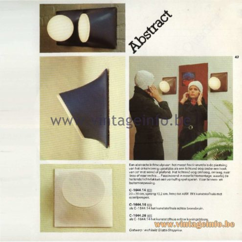 Raak Catalogue 11, 1978 - Raak Abstract Wall Lamps - design Giotto Stoppino