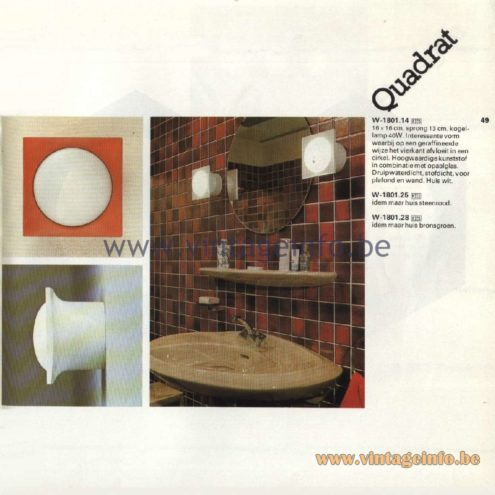 Raak Catalogue 11, 1978 - Raak Quadrat Wall Lamp W-1801.14, W-1801.25, W-1801.28