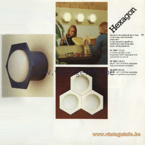 Raak Catalogue 11, 1978 - Raak Hexagon Wall Lamp W-1807.14, W-1807.16, W-1807.26
