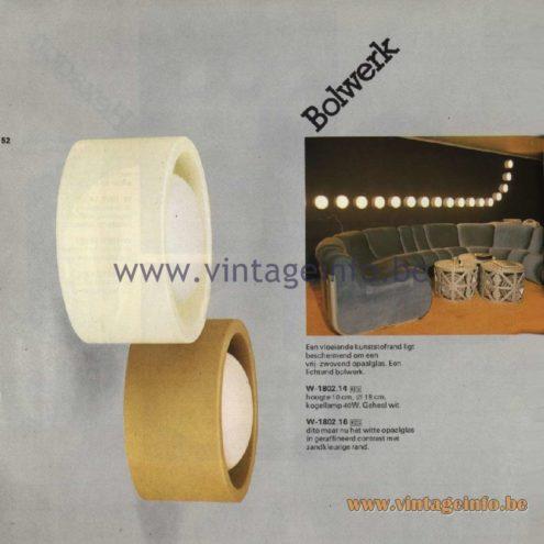 Raak Catalogue 11, 1978 - Raak Bolwerk Wall Lamp W-1802.14, W-1802.16