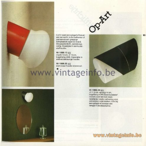 Raak Catalogue 11, 1978 - Raak Op-Art Wall Lamp W-1809.13, W-1809.25, W-1865.00