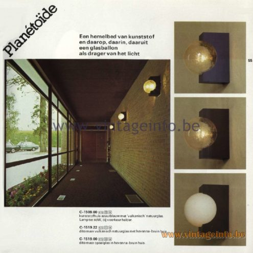 Raak Catalogue 11, 1978 - Raak Planetoïde (asteroid) Wall Lamp C-1509.00, C-1519.22, C-1519.00