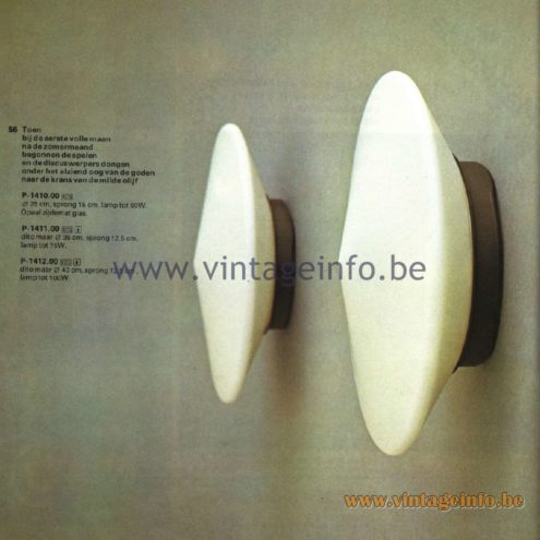 Raak Catalogue 11, 1978 - Raak Discus Wall Lamp P-1410.00, P-1411.00, P-1412.00