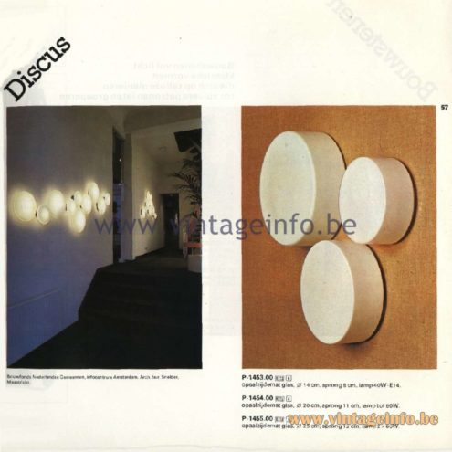Raak Catalogue 11, 1978 - Raak Discus Wall Lamp and Round Wall Lamps P-1453.00, P-1454.00, P-1455.00
