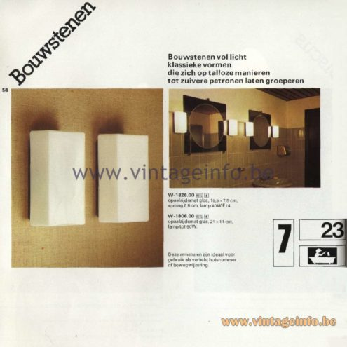 Raak Catalogue 11, 1978 - Raak Bouwstenen (building blocks) Wall Lamp W-1826.00, W-1806.00