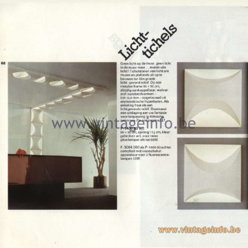 Raak Catalogue 11, 1978. Lichtichels (light tiles) Wall and Ceiling Lamp