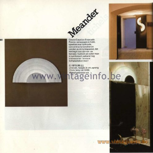 Raak Catalogue 11, 1978. Meander Wall Lamp C-1615.00