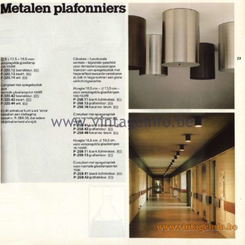 "Raak Catalogue 11, 1978 - Raak Ceiling Lamps ""Metalen plafonniers"" (metal ceiling lights) P-320.12,P-320.13,P-320.14,P-320.42,P-320.43, P-320.44 P-258.11, P-258.13, P-258.16,P-258.41,P-258.43,P-258.46 P-259.11,P-259.13,P-259.14,P-259.41,P-259.43"