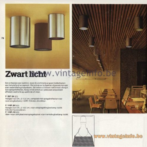 Raak Catalogue 11, 1978 - Ceiling Lamp Zwart Licht (black light) P-267.64, P-1491.64, P-1491.46
