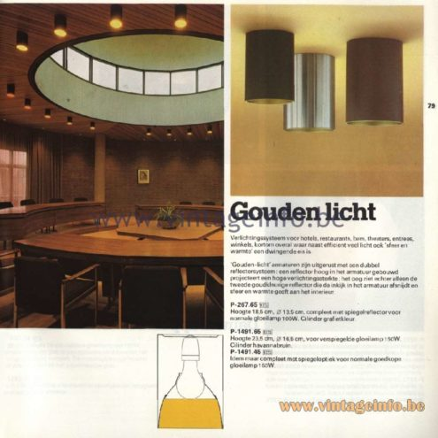 Raak Catalogue 11, 1978 - Ceiling Lamp Gouden Licht (golden light) P-267.65, P-1491.65, P-1491.45