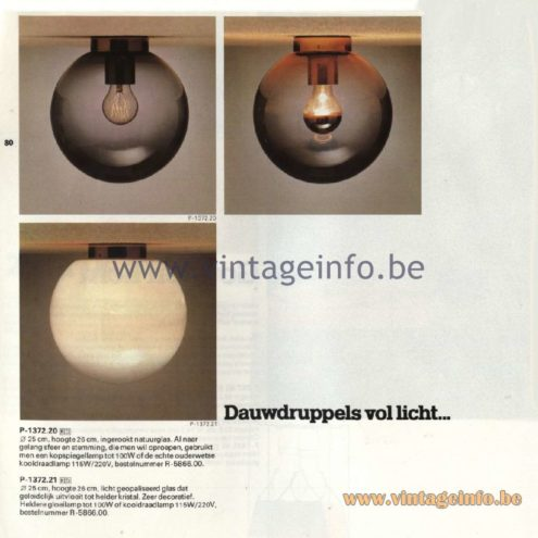Raak Catalogue 11, 1978 - Ceiling Lamp Dauwdruppels (dew drops) P-1372.20, P-1372.21