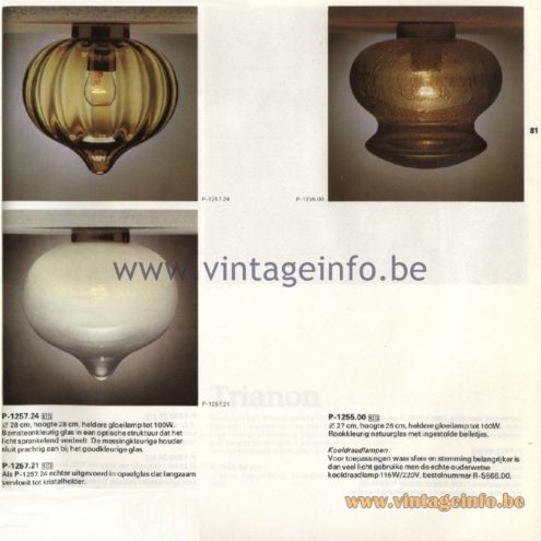 Raak Catalogue 11, 1978 - Ceiling Lamps P-1257.24, P-1258.21, P-1255.00