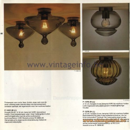 Raak Catalogue 11, 1978 - Ceiling Lamps P-1452.00, P-1370.20, P-1370.24