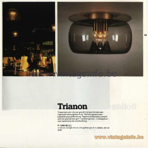 Raak Catalogue 11, 1978 - Ceiling Lamp Trianon P-1449.00