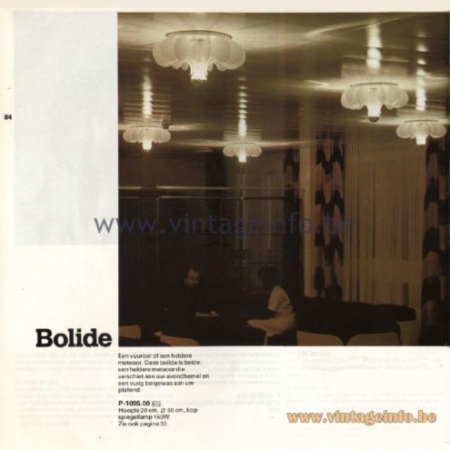 Raak Catalogue 11, 1978 - Ceiling Lamp Bolide P-1095.00
