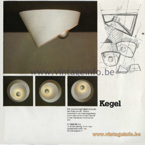 Raak Catalogue 11, 1978 - Ceiling Lamp Kegel (cone) C-1525.00