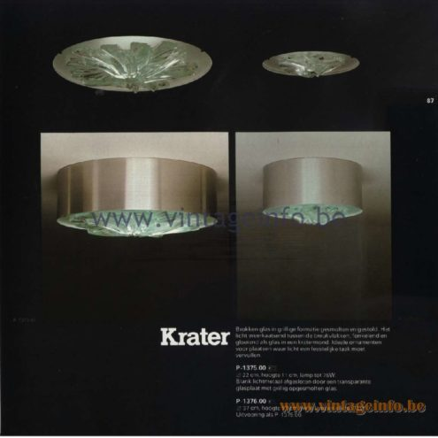 Raak Catalogue 11, 1978 - Ceiling Lamp Krater (crater) P-1375.00, P1376.00