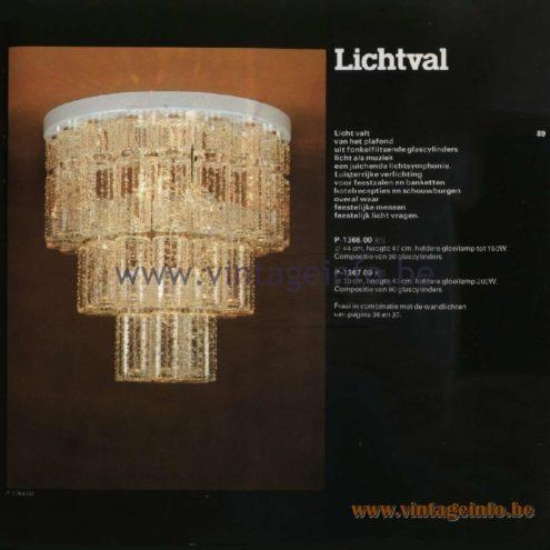 Raak Catalogue 11, 1978 - Ceiling Lamp Lichtval (lighting) P-1366.00, P-1367.00