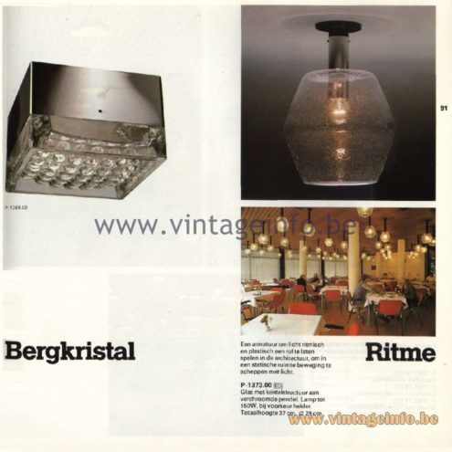 Raak Catalogue 11, 1978 - Ceiling Lamps Bergkristal (Rock Crystal) and Ritme (Rhythm) P-1369.00, P1373.00