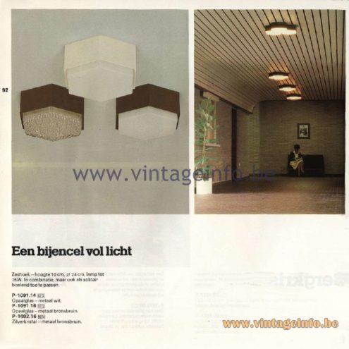 Raak Catalogue 11, 1978 - Ceiling Lamps Bijencel (Bee Cell) P-1091.14, P-1091.16, P-1092.16