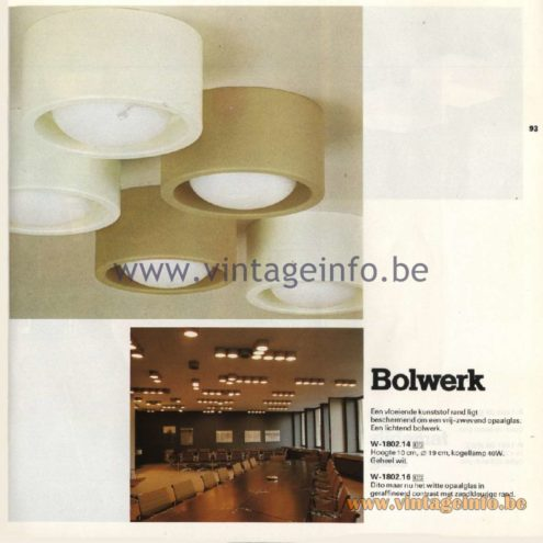 Raak Catalogue 11, 1978 - Ceiling Lamps Bolwerk (Stronghold) W-1802.14, W-1802.16