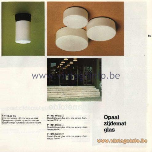 Raak Catalogue 11, 1978 - Ceiling Lamps P-1413.00, P-1453.00, P-1454.00, P-1455.00