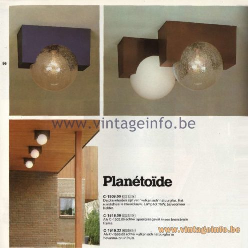 Raak Catalogue 11, 1978 - Raak Planétoïde Ceiling Lamp C-1509.00, C-1519.00, C-1519.22