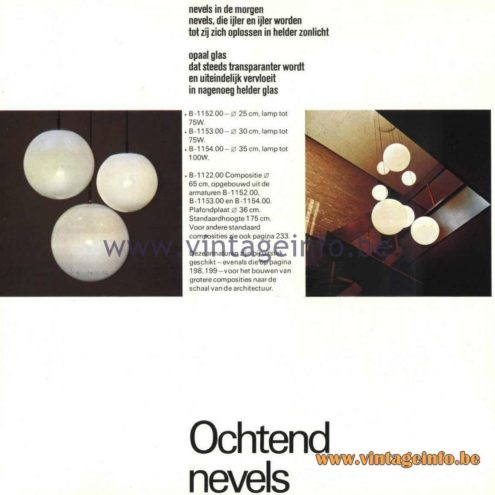 Raak Ochtendnevels Globe Pendant lamps Catalogue 9, 1972