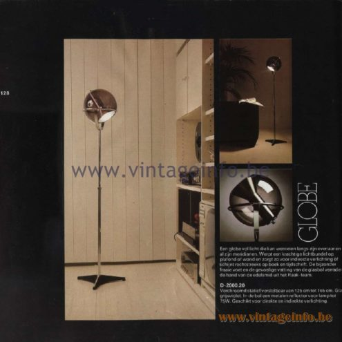 Raak Catalogue 11, 1978 Globe Floor Lamp, design Frank Ligtelijn D-2000.20.