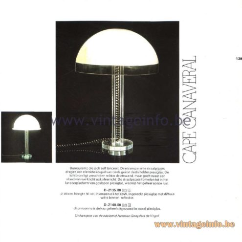 Raak Catalogue 11, 1978 - Cape Canaveral Table Lamp, design Hermian Sneyders de Vogel. D-2135.00, D-2140.00