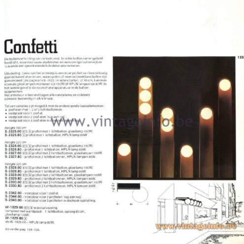 Raak Catalogue 11, 1978 - outdoor lighting - Confetti lamps