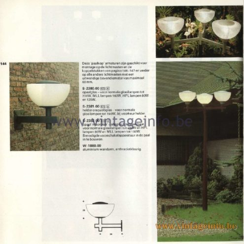 Raak Catalogue 11, 1978 - Raak Paalkop (pole head) Outdoor/Garden/Street Lamp S-2380.00, S-2381.00, S-2382.00, W-1860.00