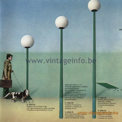 Raak Catalogue 11, 1978, Raak Lichtmasten (light poles) S-2353.00, S-2354.00, S-2354.70, S-2355.00, S-2355.70