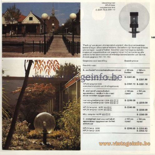 Raak Catalogue 11, 1978 - Raak Paalkop (pole head) Outdoor/Garden/Street Lamp S-2241.00, S-2241.10, S-2251.00, S-2251.10, S-2240.00, S-2250.00, S-2240.80, S-2250.80, S-2250.12