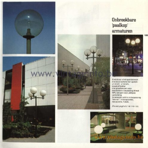 Raak Catalogue 11, 1978 - Raak Paalkop (pole head) Outdoor/Garden/Street Lamps - Onbreekbare 'paalkop' armaturen. Unbreakable 'pole head' fixtures.