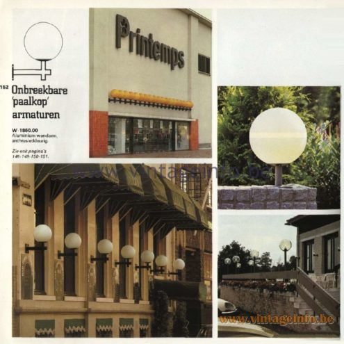 Raak Catalogue 11, 1978 - Onbreekbare 'Paalkop' Armaturen – Unbreakable 'pole head' fixtures W-1860.00