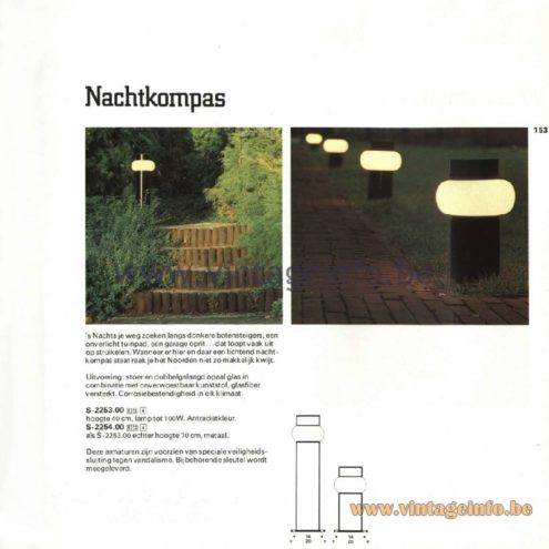Raak Catalogue 11, 1978 - Nachtkompas (Night Compass) Outdoor Lamps S-2253.00, S-2254.00