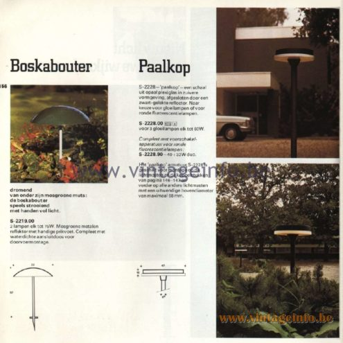 Raak Catalogue 11, 1978  - Outdoor Lamps - Boskabouter, Paalkop - Forest Gnome, Pile Head S-2219.00, S-2228, S-2228.00 S-2228.90